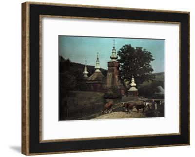 A View of a Russian Church with Cows in Front-Hans Hildenbrand-Framed Photographic Print