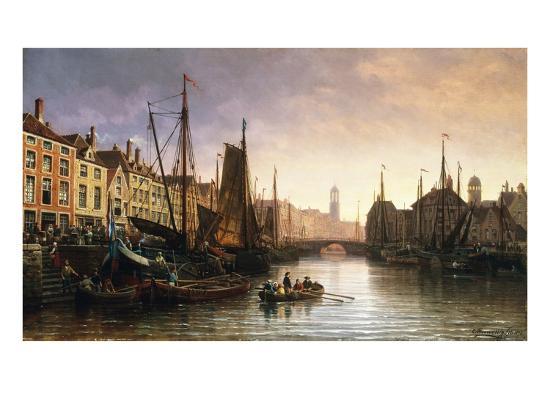 A View of Amsterdam, the Netherlands-Charles Euphrasie Kuwasseg-Giclee Print