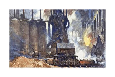 A View of an American Steel Mill and its Smoke Stacks-Thornton Oakley-Giclee Print