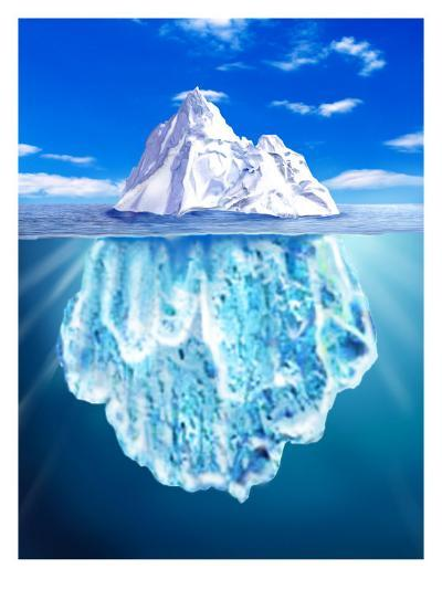 A View of an Iceberg from Above and Below Water--Art Print