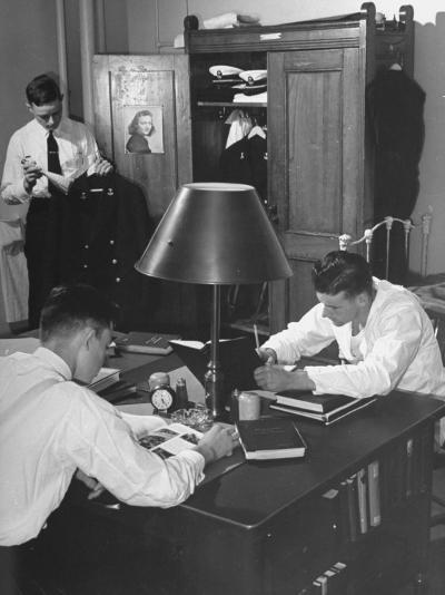 A View of Cadets at the Annapolis Naval Academy Studying in their Dorm Room-David Scherman-Premium Photographic Print