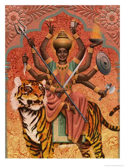 A View of Durga, the Indian Goddess of War, Sitting on a Tiger--Art Print