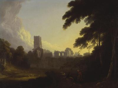 A View of Fountains Abbey, Yorkshire with a Shepherd and Two Figures in the Foreground-John Rathbone-Giclee Print