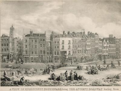 A View of High Street, Southwark, London, Being the Ancient Roadway-George The Elder Scharf-Giclee Print