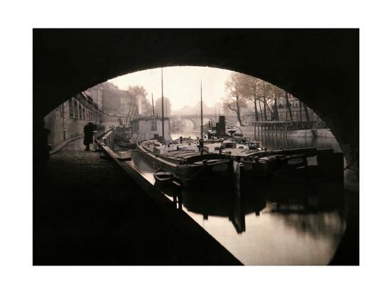 A View of Ile-De-La-Cite from under a Bridge-Gervais Courtellemont-Photographic Print