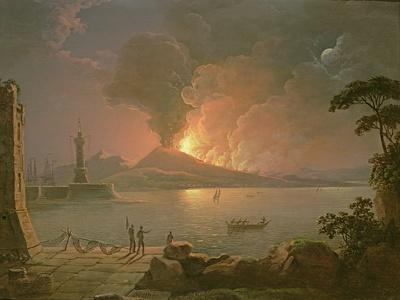 A View of Mount Vesuvius Erupting-Abraham Pether-Premium Giclee Print