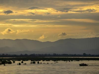 A View of Mountains Beyond the Irrawaddy River at Sunset-Tino Soriano-Photographic Print