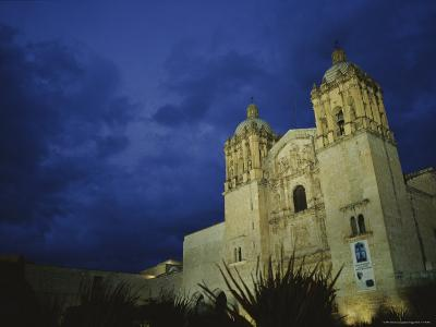 A View of Oaxacas Santo Domingo Church at Night-Raul Touzon-Photographic Print