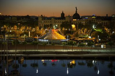 A View of Part of Barcelona's Harbor and the City Beyond-Michael Melford-Photographic Print