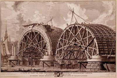 A View of Part of the Intended Bridge at Blackfriars London, Print Made by Piranesi, 1764-Robert Milne-Giclee Print