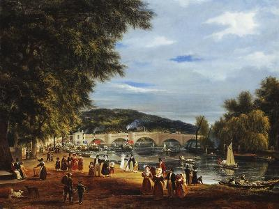 A View of Richmond Bridge with Boats on the River and Figures Promenading-J^ M^ W^ Turner-Giclee Print