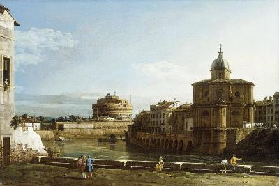 A View of Rome Along the Tiber, with the Church of San Giovanni Dei Fiorentini Beyond-Bernardo Bellotto-Giclee Print
