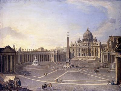 A View of St. Peter's, Rome with Bernini's Colonnade and a Procession in Carriages-Antonio Joli-Giclee Print