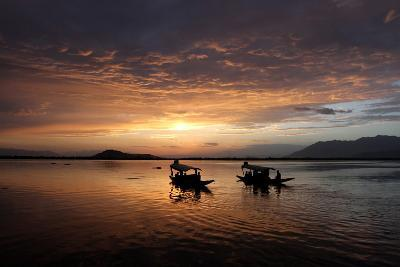 A View of Sunset on the Dal Lake in Srinagar, the Summer Capital of Indian Kashmir-Farooq Khan-Photographic Print