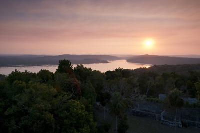 A View of Sunset over Lake Yaxha, from Tikal Temple 216-Sergio Pitamitz-Photographic Print