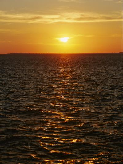A View of Tampa Bay Taken at Sunset from the Sunshine Skyway Bridge-Raymond Gehman-Photographic Print