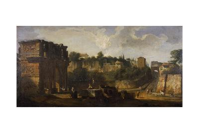 A View of the Arches of Constantine and of Titus, Rome-Giovani Paolo Panini-Giclee Print