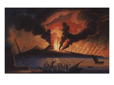 A View of the Bay of Naples with Mount Vesuvius Erupting at Nightfall-Italian School-Giclee Print