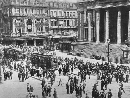 'A view of the Bourse during the passage of the German troops', 1914-Unknown-Photographic Print