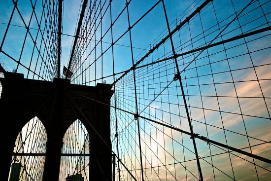 A View of the Brooklyn Bridge Through Cables-Kike Calvo-Photographic Print