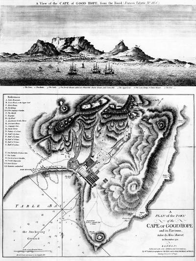 A View of the Cape of Good Hope and a Plan of the Town of the Cape of Good Hope and its Environs-English-Giclee Print