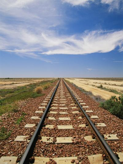 A View of the Indian Pacific Railroad Crossing the Nullarbor Plain-Richard Nowitz-Photographic Print