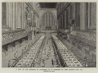 A View of the Interior of Guildhall as it Appeared on Lord Mayor's Day, 1761--Giclee Print