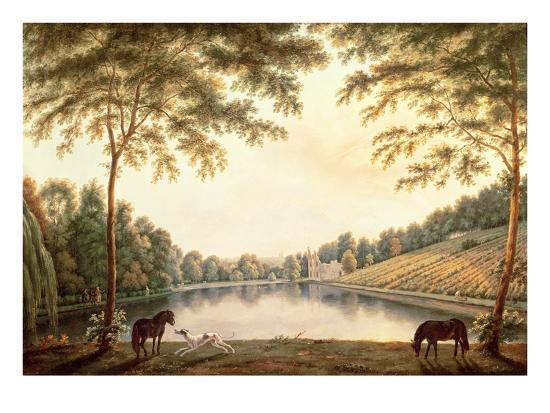 A View of the Lake and Ruins of the Abbey at Painshill, Surrey-G. Barrett-Premium Giclee Print