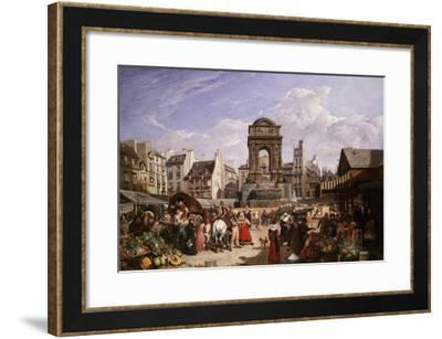 A View of the Market and Fountain of the Innocents, Paris-John James Chalon-Framed Giclee Print