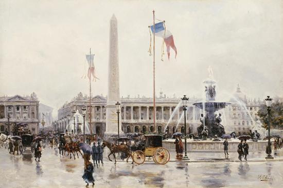 A View of the Place de la Concorde, Paris-Ulpiano Checa Y Sanz-Giclee Print