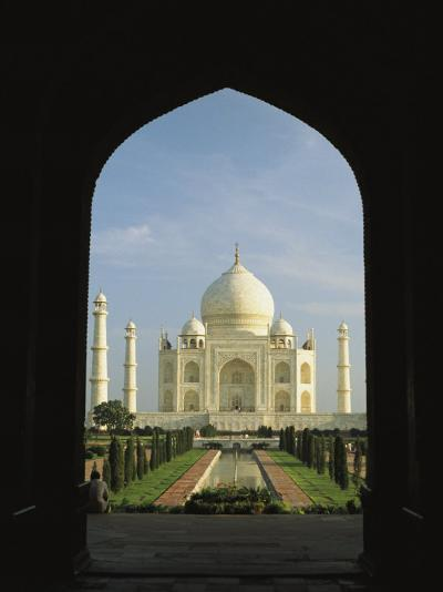 A View of the Taj Mahal Framed Through a Doorway-Ed George-Photographic Print