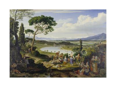 A View of the Tiber Near Rome, a Rural Feast, 1818-Joseph Anton Koch-Giclee Print