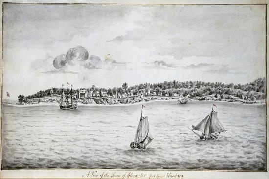A View of the Town of Gloucester, York River, Virginia-John Gauntlett-Giclee Print