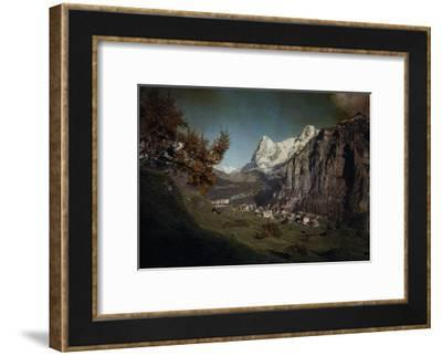 A View of the Town of Murren at the Foot of the Swiss Alps-Hans Hildenbrand-Framed Photographic Print