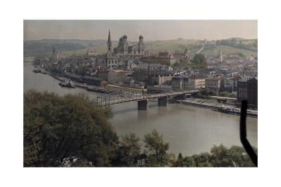 A View of the Town of Passau Along the Danube River-Hans Hildenbrand-Photographic Print