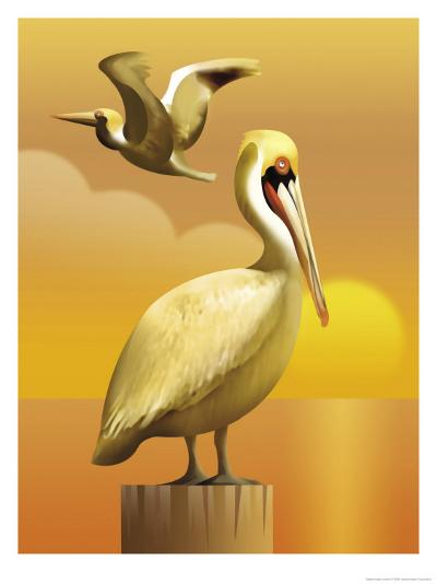 A View of Two Pelicans, One Standing on a Post and One Flying--Art Print
