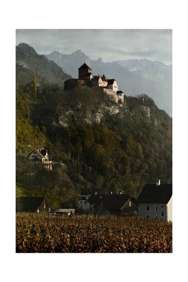 A View of Vaduz Castle in the Swiss Alps-Hans Hildenbrand-Photographic Print