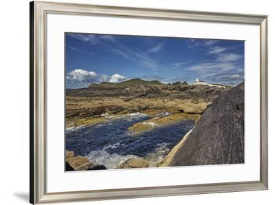 A view of Valentia Island lighthouse, Valentia Island, Skelligs Ring, Ring of Kerry, County Kerry,-Nigel Hicks-Framed Photographic Print