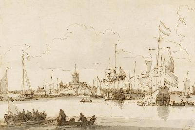 A View of Vlaardingen with Shipping in the Foreground (Pen and Ink with Wash on Paper)-Ludolf Backhuysen-Giclee Print