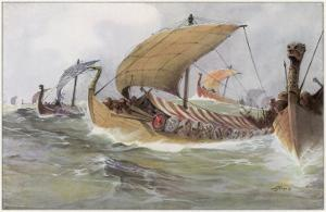 A Viking Raiding Fleet Racing across the North Sea