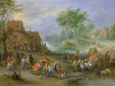 A Village Landscape with Figures Making Merry and Travellers Passing Through a Stream-Theobald Michau-Giclee Print