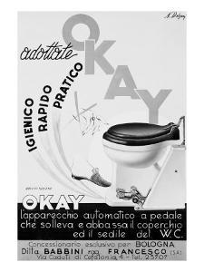 Billboard Advertising Okay, Device to Lift and Lower Toilet Seat, Produced by Babbini Co, Bologna by A. Villani