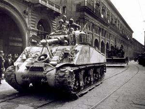 Piazza Maggiore During Liberation, Crowd Watches the Passage of Polish Troops and Tanks, Bologna by A. Villani
