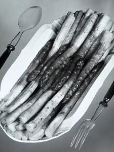 White Porcelain Platter with Cooked Asparagus by A. Villani
