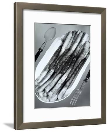 White Porcelain Platter with Cooked Asparagus