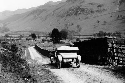 A Vintage Car Travelling Along a Lane Through the Lake District, Cumbria, 1920s--Photographic Print