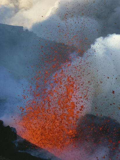 A Violent Eruption of Lava Spews High into the Air on Mount Etna-Peter Carsten-Photographic Print