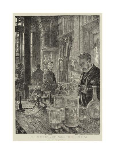 A Visit to the Royal Mint, Testing the Precious Metal-Charles Paul Renouard-Giclee Print