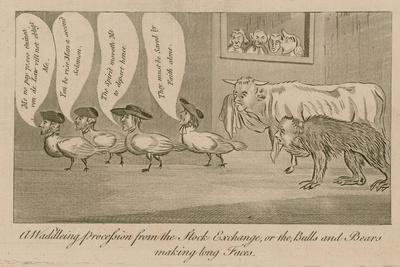 A Waddling Proccession from the Stock Exchange, or the Bulls and Bears Making Long Faces--Giclee Print