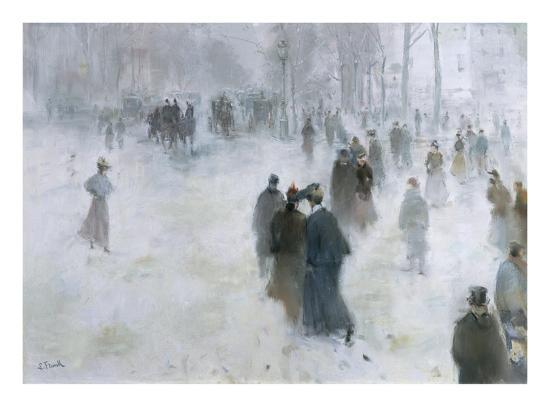 A Walk in the Snow-Lucien Frank-Giclee Print